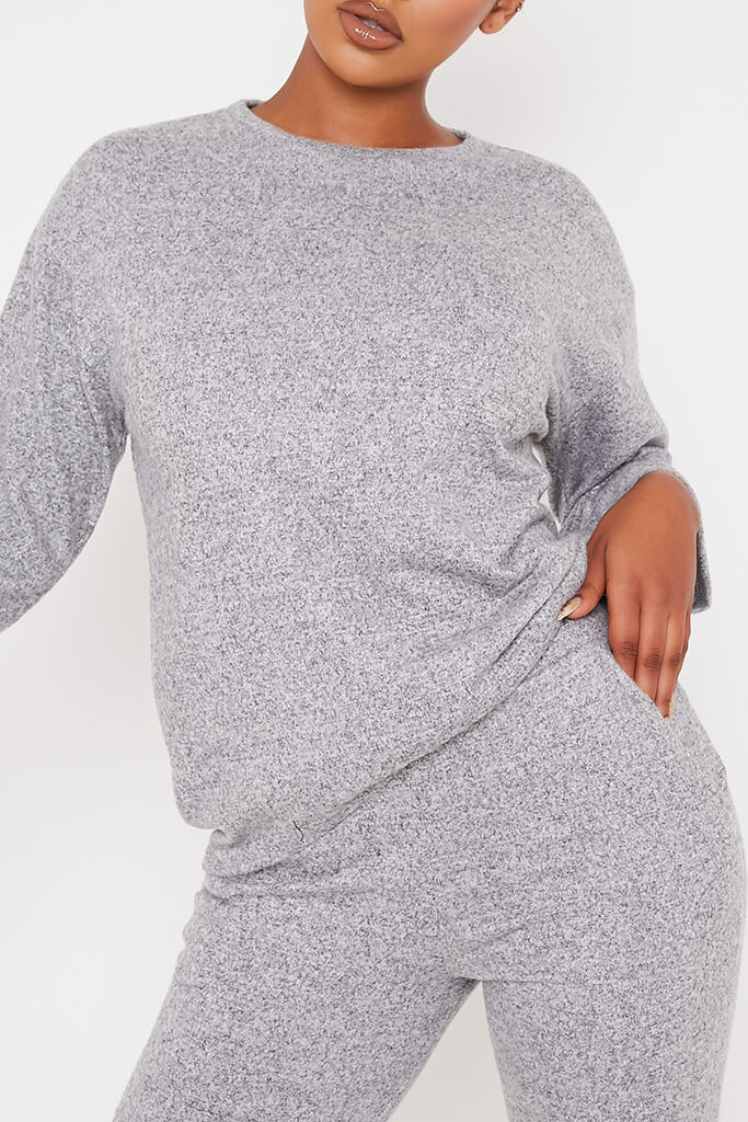 Grey Marl Oversized Soft Touch Loungewear Set view 4