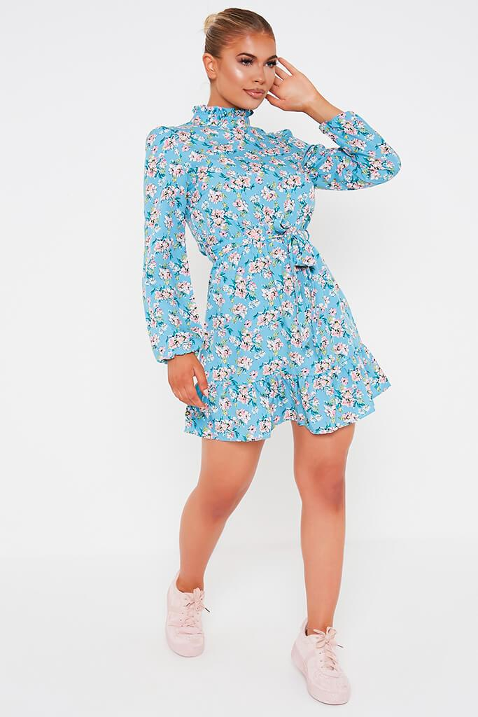 Blue Ditsy Floral Woven Long Sleeve Belted Tea Dress view 2