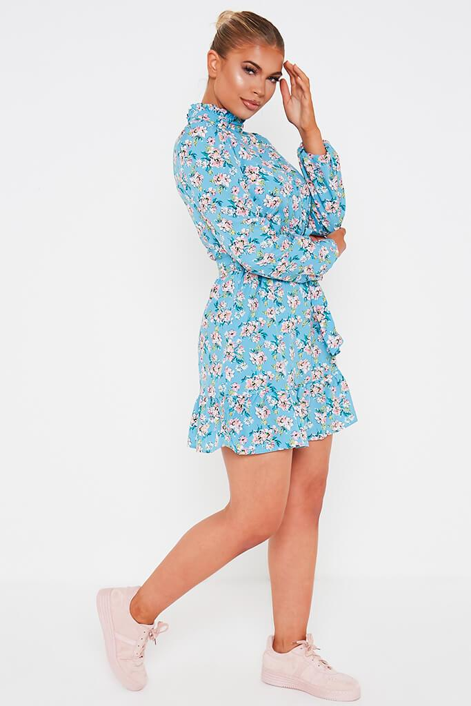 Blue Ditsy Floral Woven Long Sleeve Belted Tea Dress view 3
