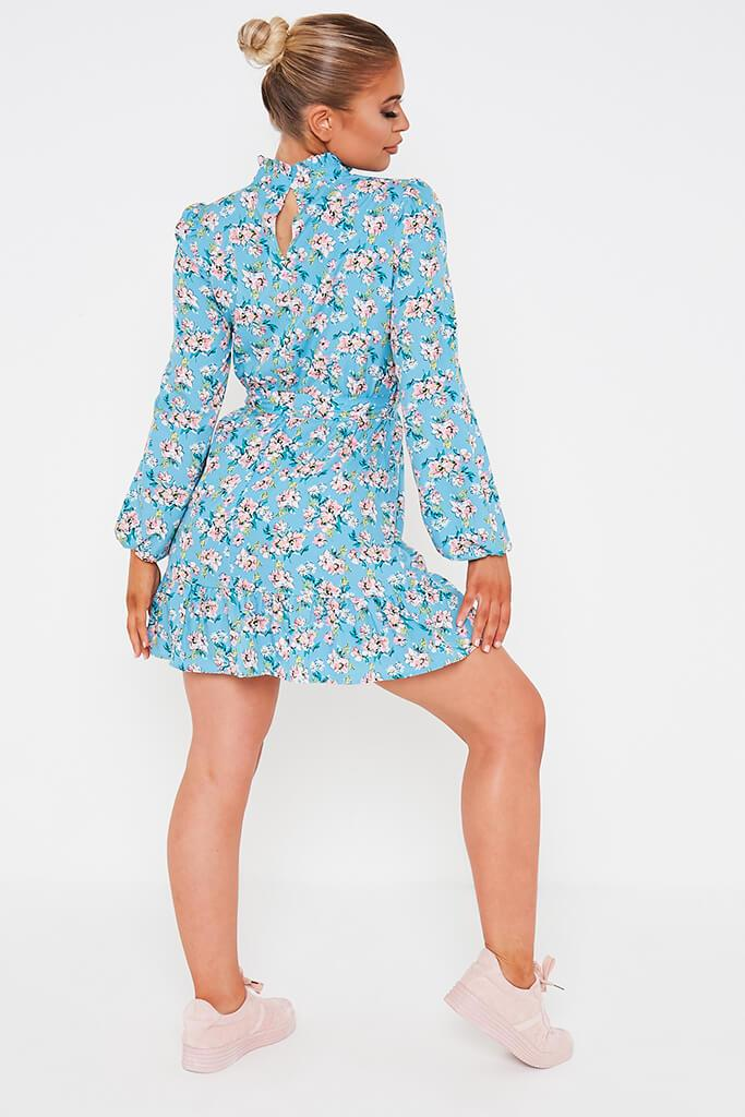Blue Ditsy Floral Woven Long Sleeve Belted Tea Dress view 5