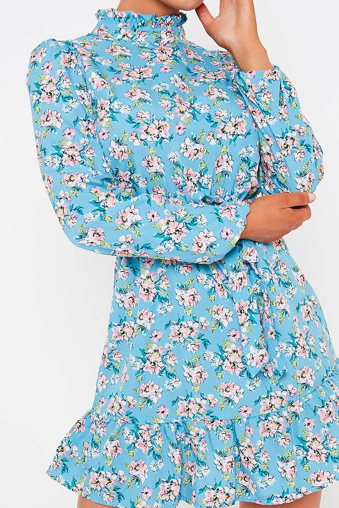 Blue Ditsy Floral Woven Long Sleeve Belted Tea Dress view 4