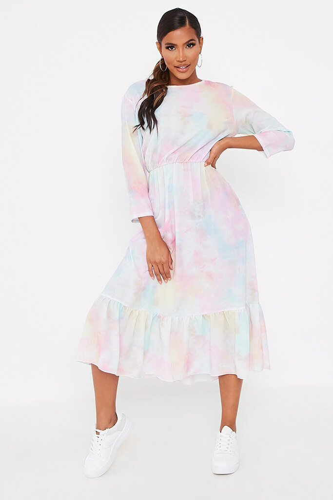 Multi Multi Pastel Tie Dye Midi Dress