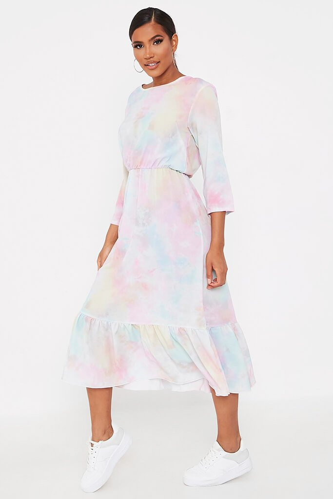 Multi Multi Pastel Tie Dye Midi Dress view 3