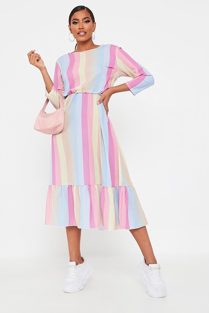 Multi Rainbow Stripe Midi Dress
