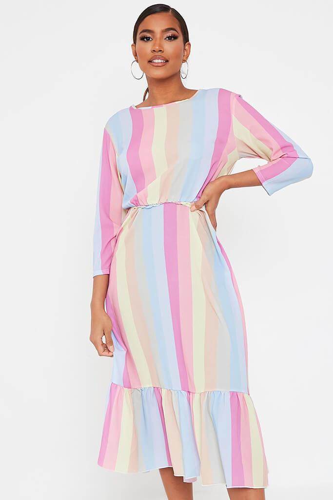 Multi Rainbow Stripe Midi Dress view 2