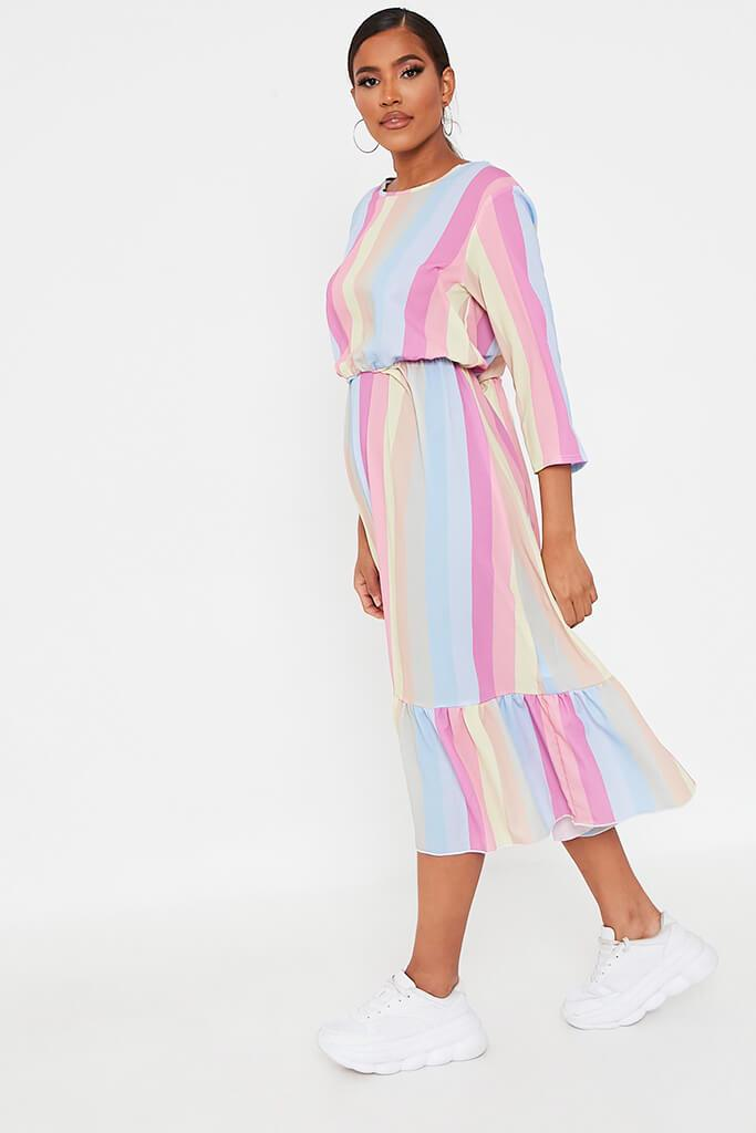 Multi Rainbow Stripe Midi Dress view 3