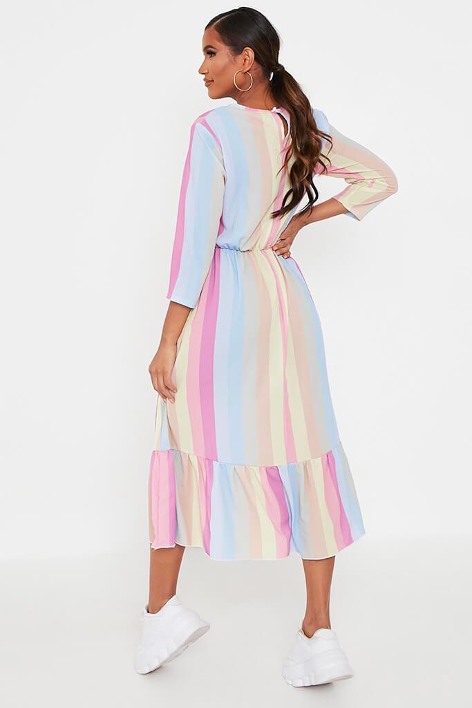 Multi Rainbow Stripe Midi Dress view 5