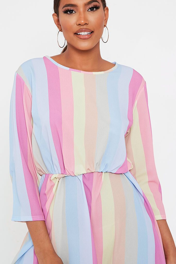 Multi Rainbow Stripe Midi Dress view 4