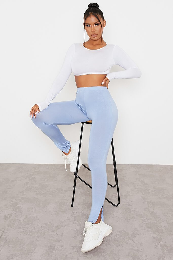 Baby Blue Split Hem Leggings