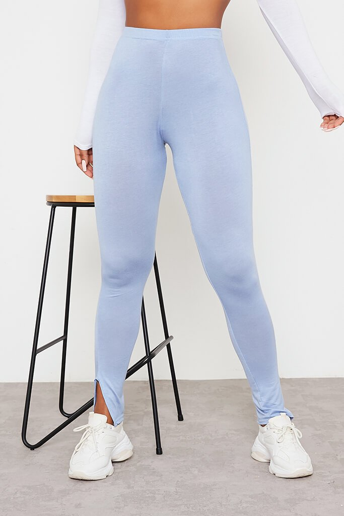 Baby Blue Split Hem Leggings view 2