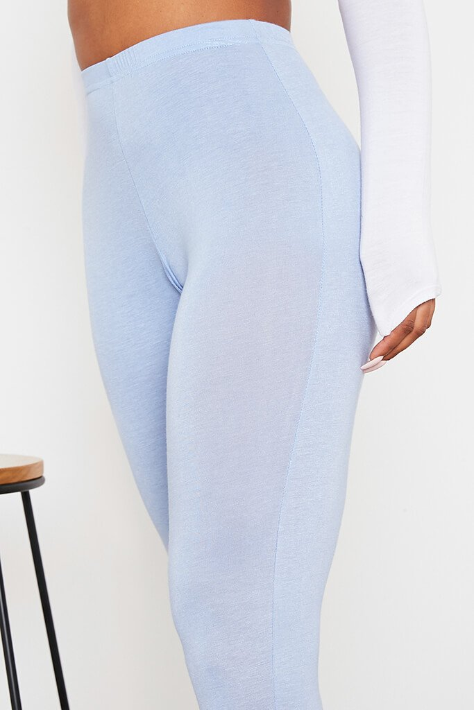 Baby Blue Split Hem Leggings view 5