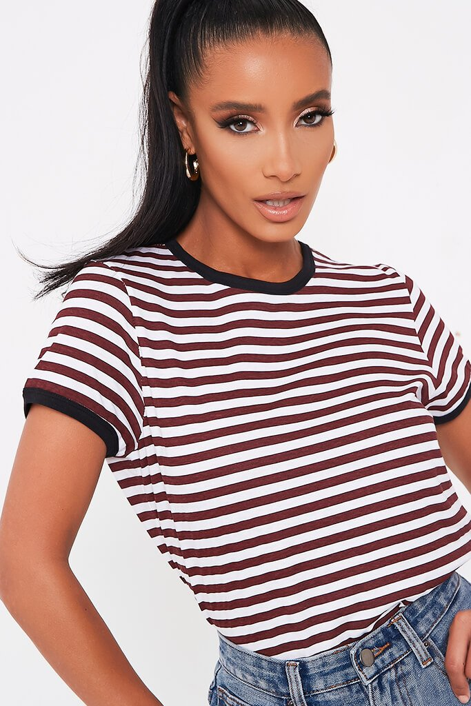 White Striped Contrast Binding Crew Neck T Shirt view 4
