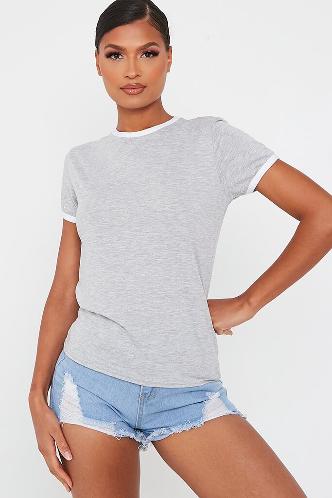 Silver Grey Contrast Binding Crew Neck T Shirt