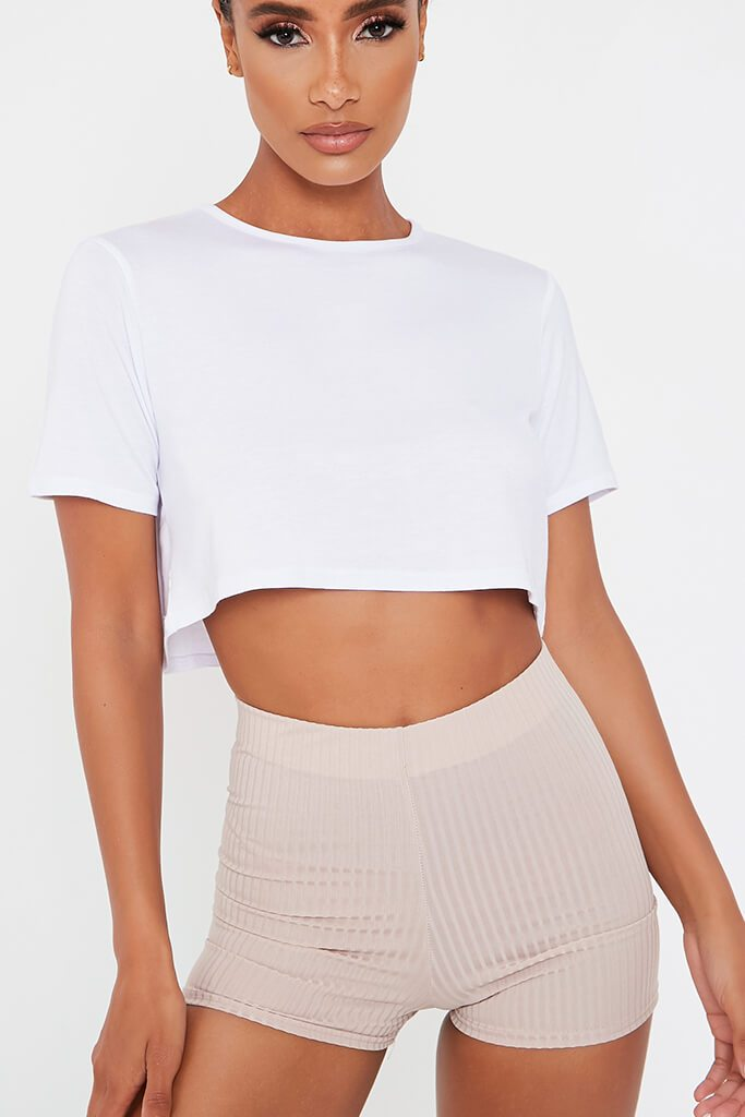 White Basic Boxy Cropped T-Shirt view 4