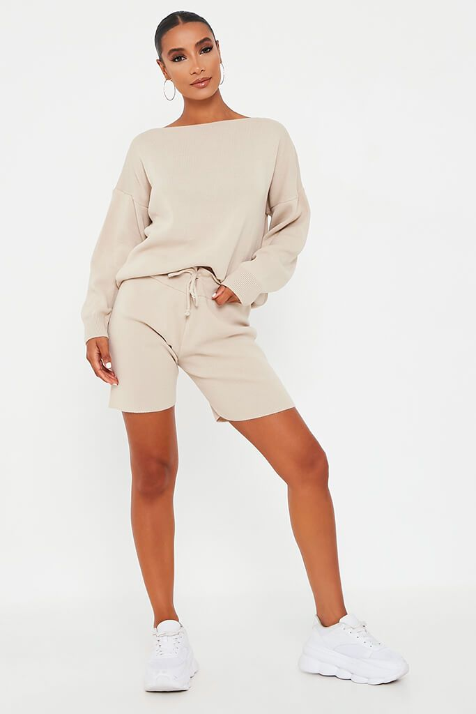 Stone Slash Neck Top And Shorts Knit Lounge Set view 3
