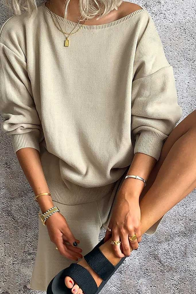Stone Slash Neck Top And Shorts Knit Lounge Set view main view