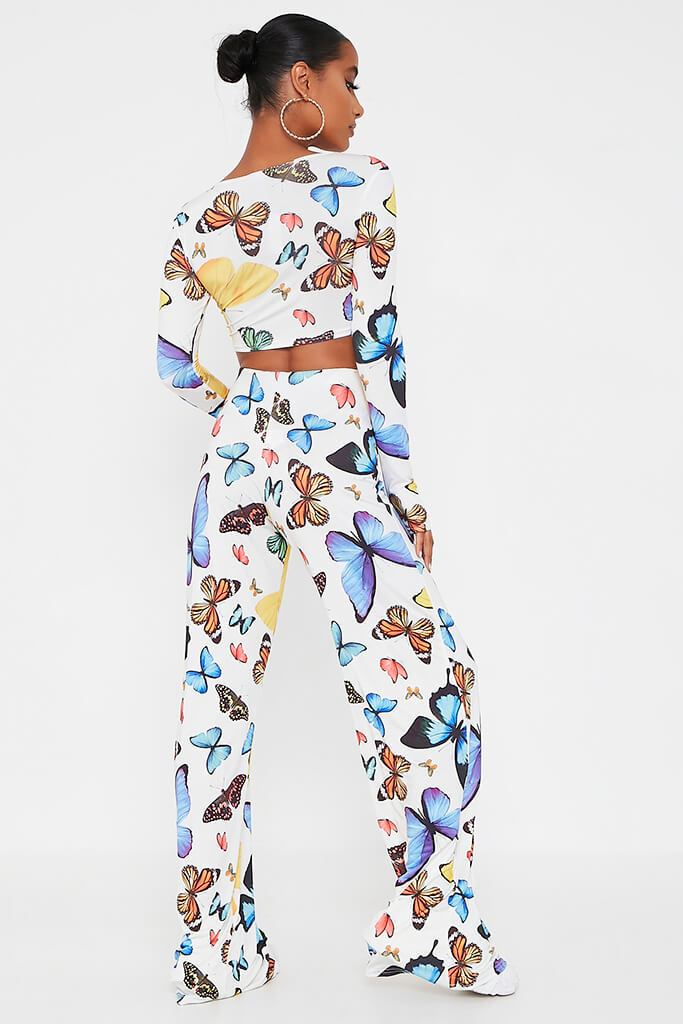 Multi Butterfly Print Wide Leg Trouser view 5