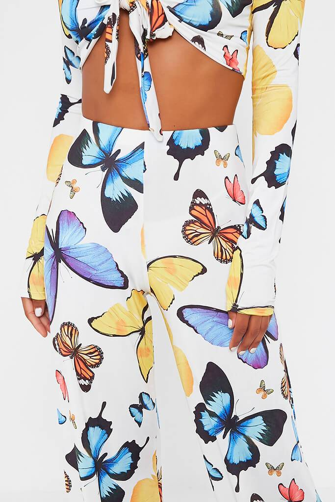 Multi Butterfly Print Wide Leg Trouser view 4