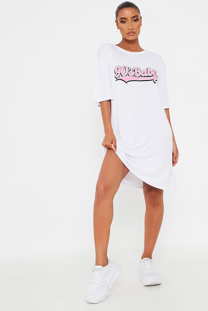 White 90'S Baby Oversized Cotton T Shirt Dress view 2