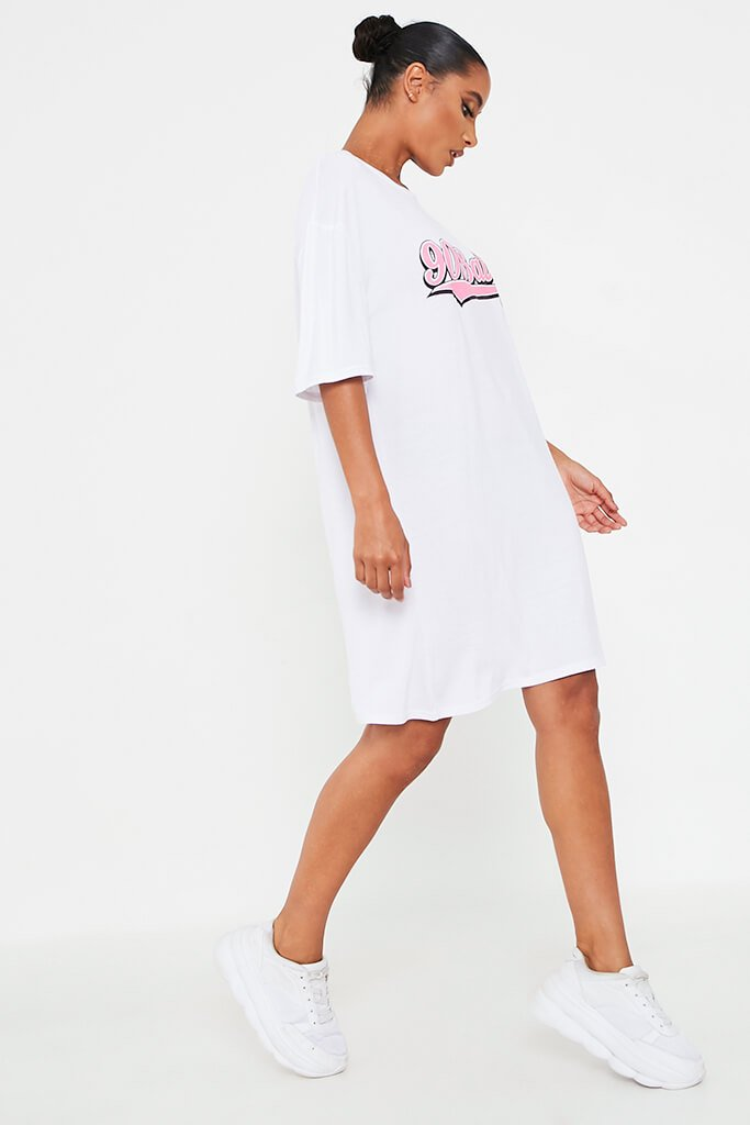 White 90'S Baby Oversized Cotton T Shirt Dress view 3