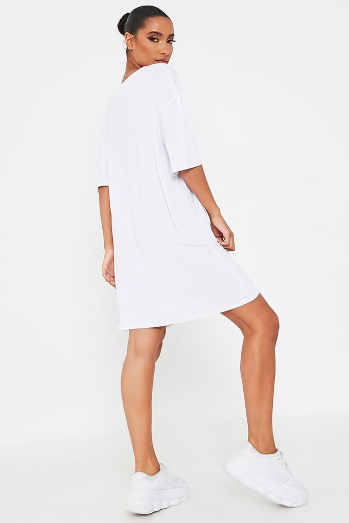 White 90'S Baby Oversized Cotton T Shirt Dress view 5