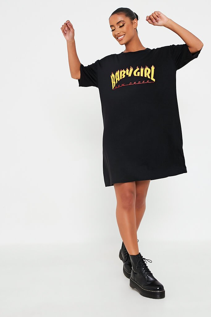 Black Baby Girl Flames Cotton Oversized T Shirt Dress