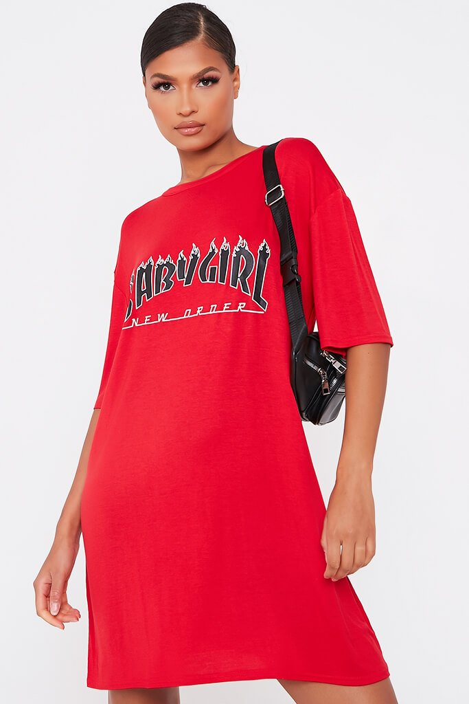 Red Baby Girl Flames Cotton Oversized T Shirt Dress view 2