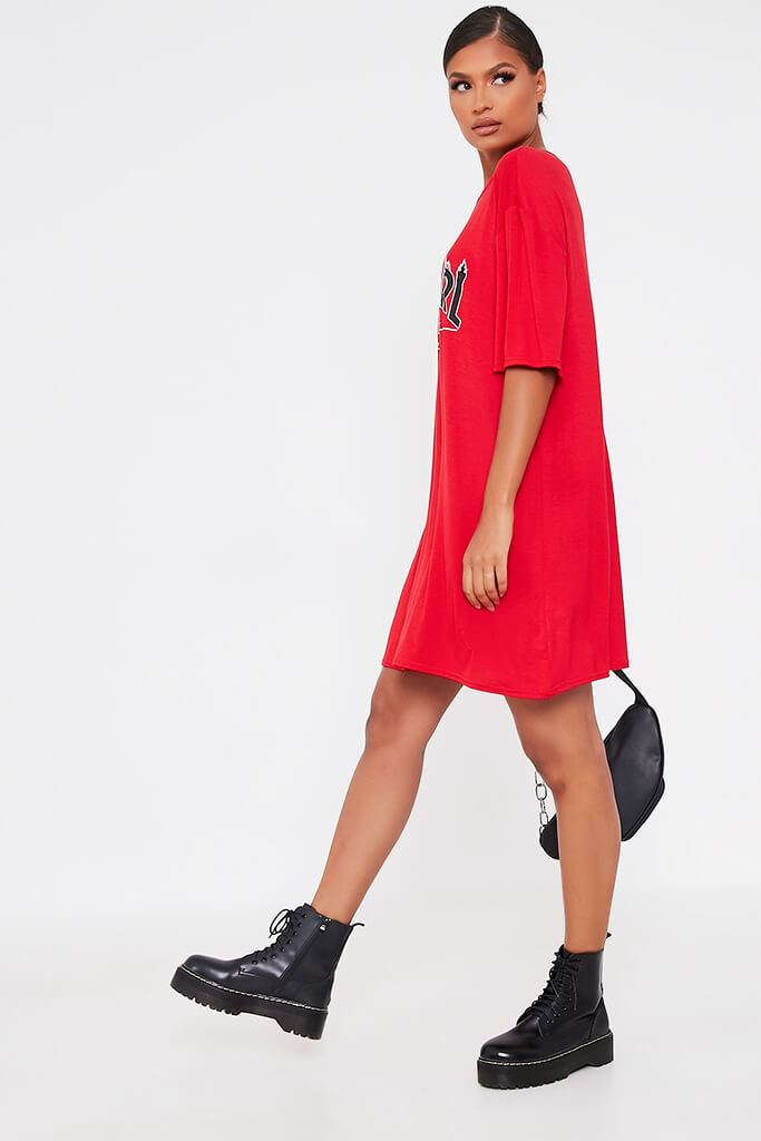 Red Baby Girl Flames Cotton Oversized T Shirt Dress view 3