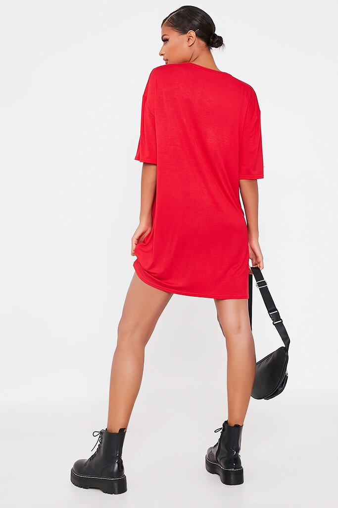 Red Baby Girl Flames Cotton Oversized T Shirt Dress view 5