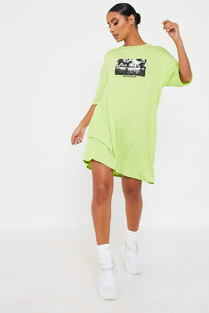 Lime Green Bad Influence Cotton Oversized T Shirt Dress view 2