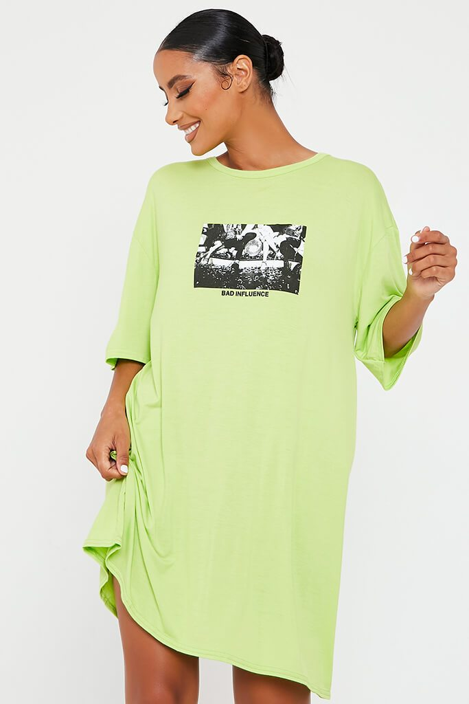 Lime Green Bad Influence Cotton Oversized T-Shirt Dress