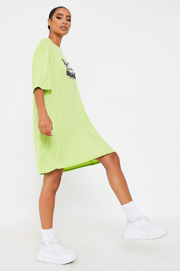 Lime Green Bad Influence Cotton Oversized T-Shirt Dress view 3