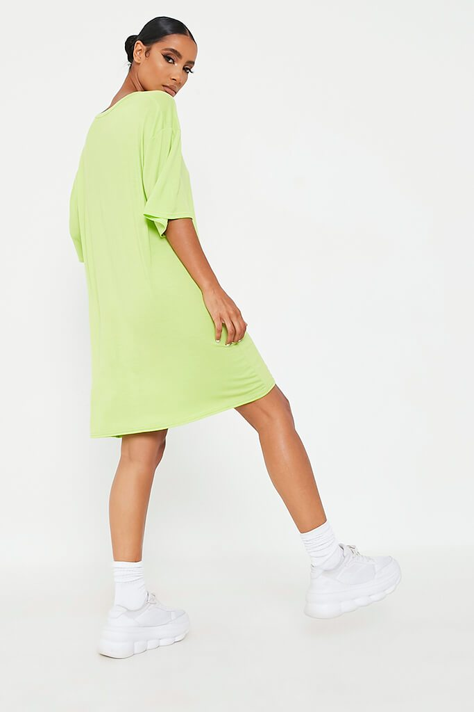 Lime Green Bad Influence Cotton Oversized T Shirt Dress view 5