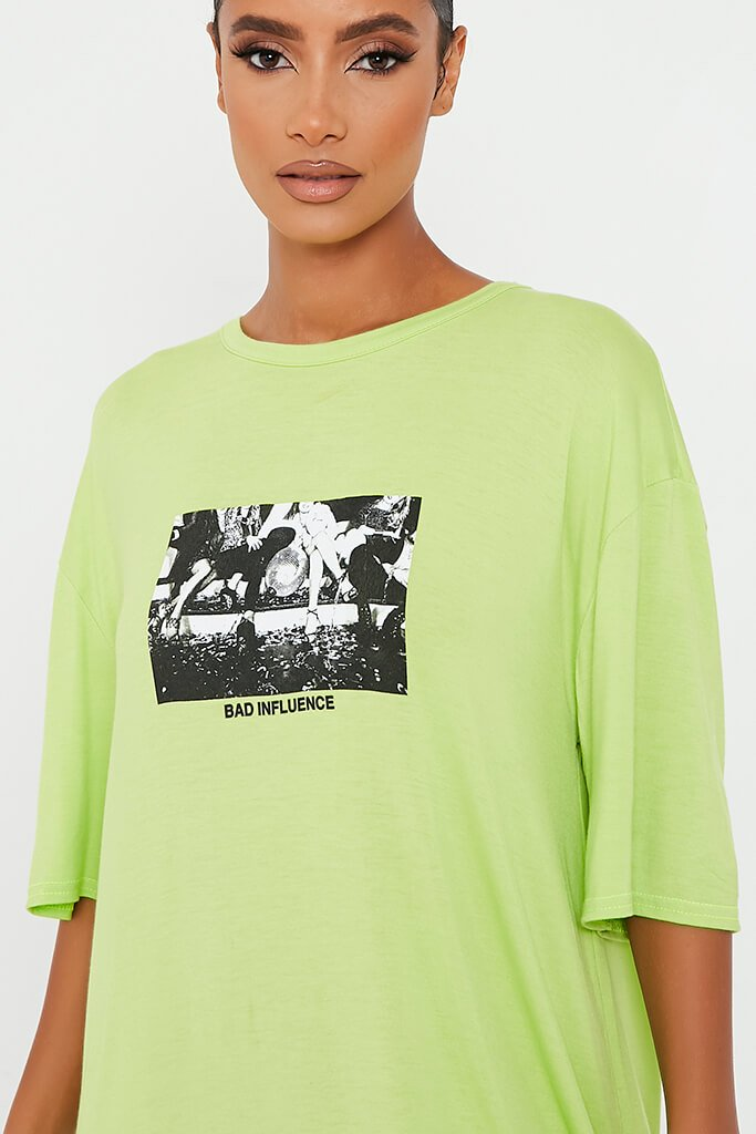 Lime Green Bad Influence Cotton Oversized T-Shirt Dress view 4