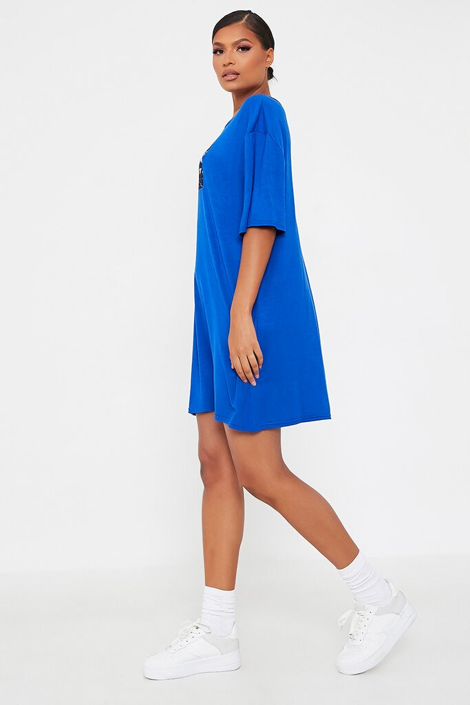 Blue Bad Influence Cotton Oversized T Shirt Dress view 3