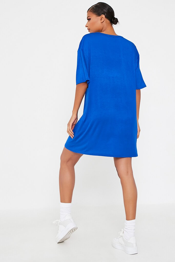 Blue Bad Influence Cotton Oversized T Shirt Dress view 5