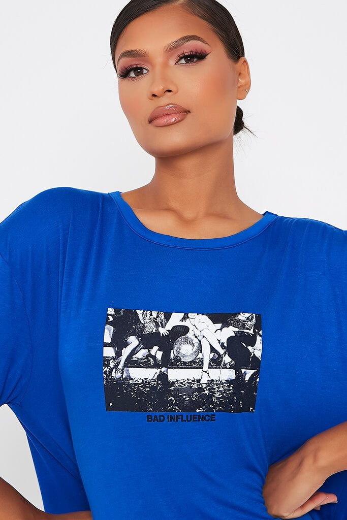 Blue Bad Influence Cotton Oversized T Shirt Dress view 4