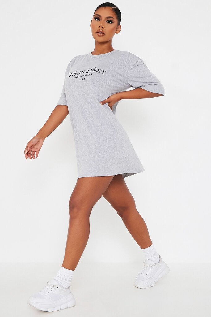 Grey Marl Ye Saint West Cotton Oversized T Shirt Dress view 2