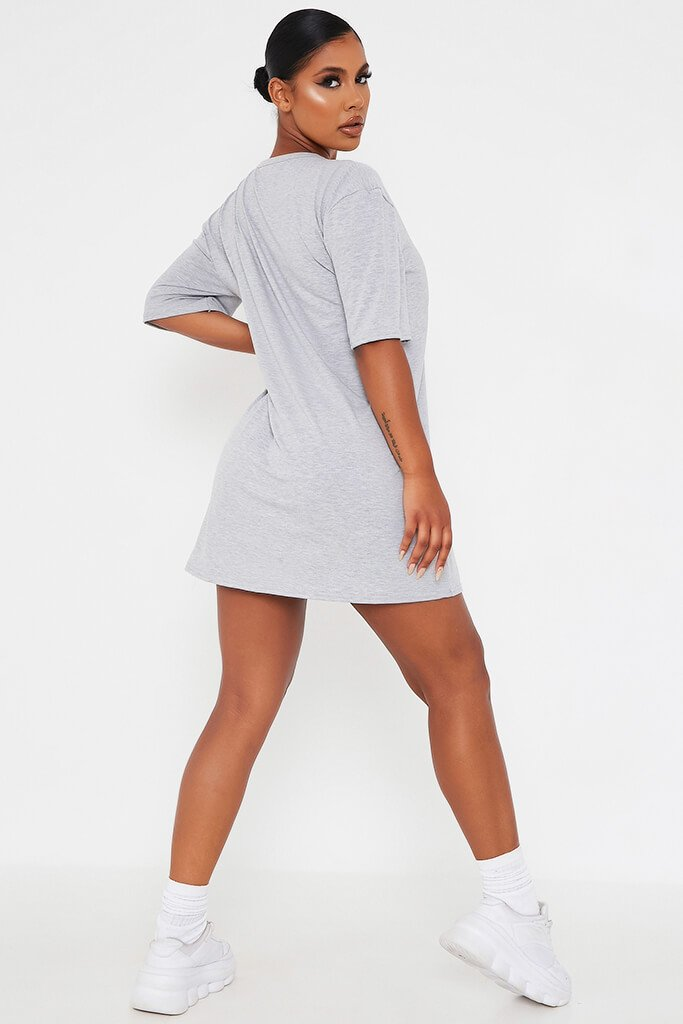 Grey Marl Ye Saint West Cotton Oversized T Shirt Dress view 3