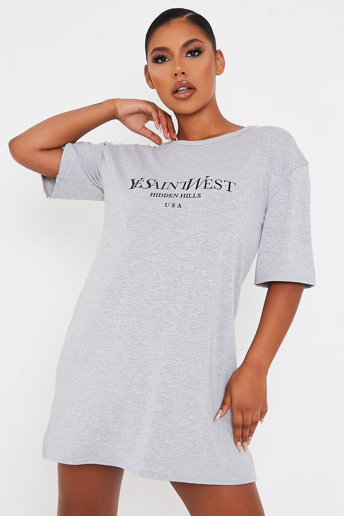 Grey Marl Ye Saint West Cotton Oversized T Shirt Dress view 5