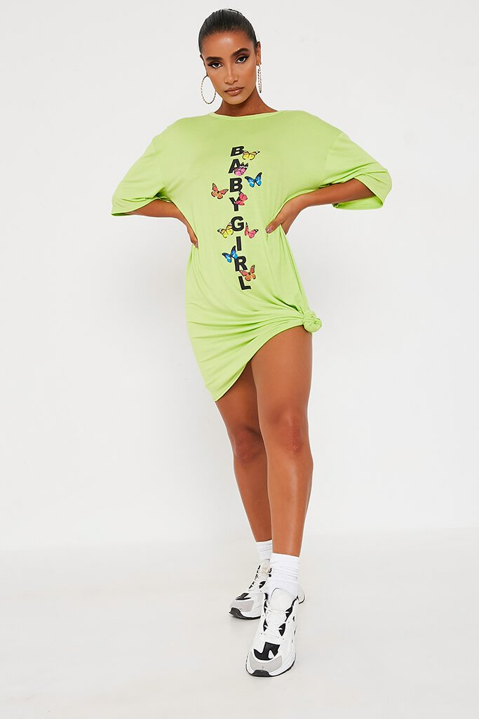 Lime Green Baby Girl Butterfly Oversized Cotton T Shirt Dress view 2