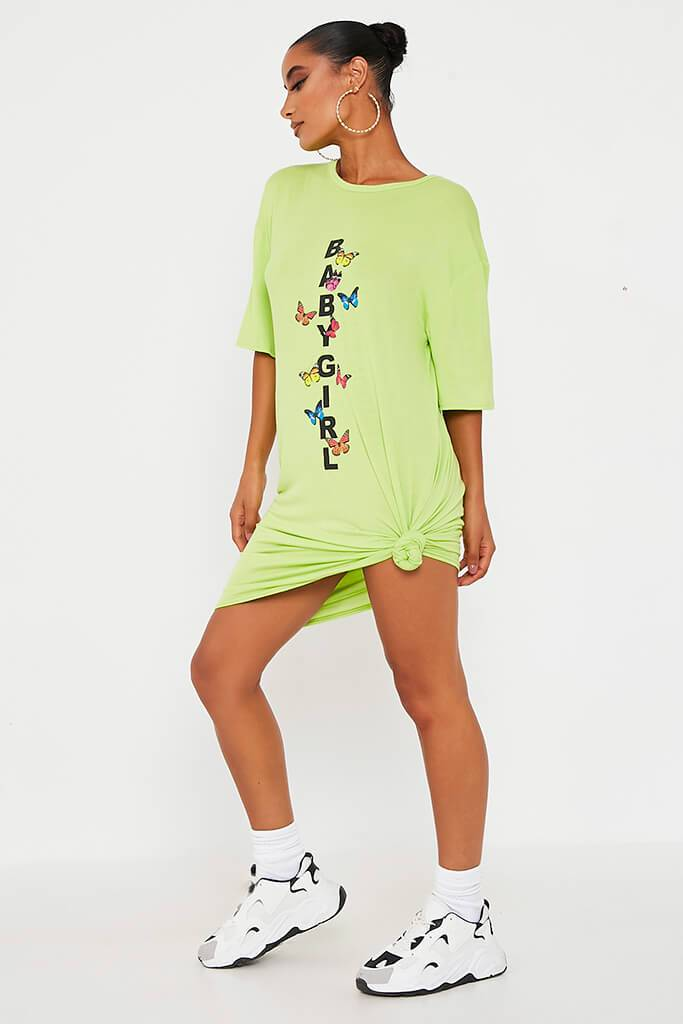Lime Green Baby Girl Butterfly Oversized Cotton T Shirt Dress view 3