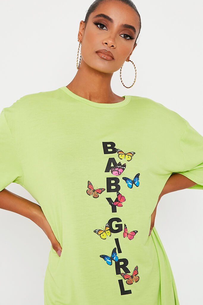 Lime Green Baby Girl Butterfly Oversized Cotton T Shirt Dress view 4