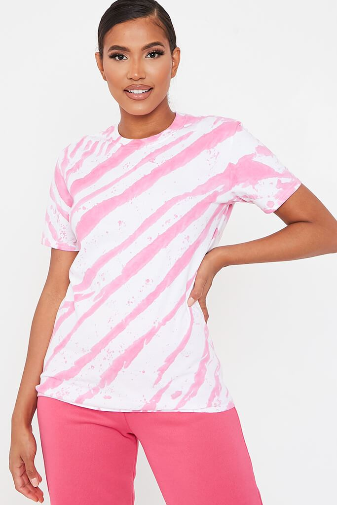 Hot Pink Acid Wash Stripe T-Shirt