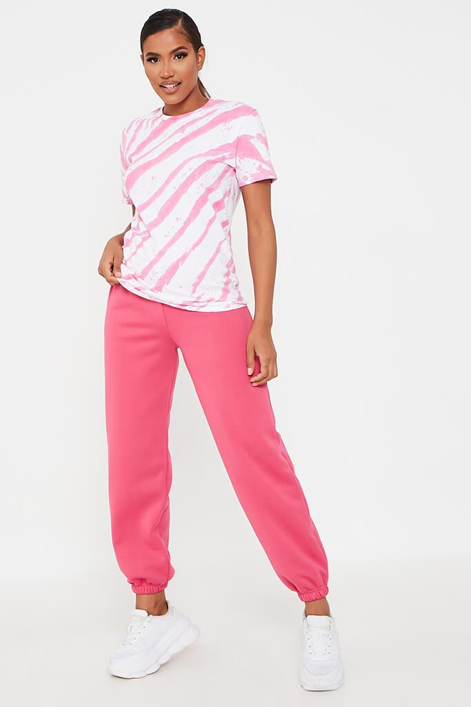 Hot Pink Acid Wash Stripe T-Shirt view 2