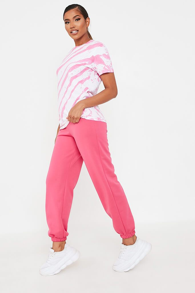 Hot Pink Acid Wash Stripe T-Shirt view 3