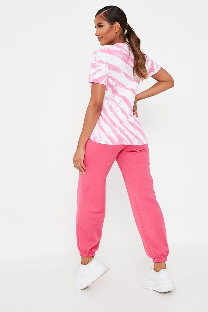Hot Pink Acid Wash Stripe T-Shirt view 5
