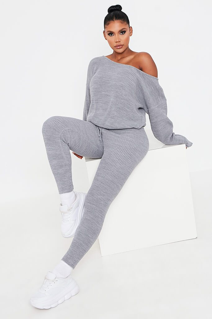Grey Knitted Slash Neck Jumper And Jogger Set view main view