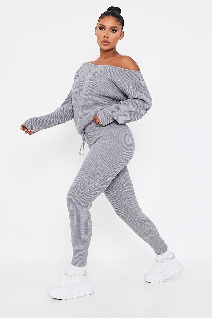 Grey Knitted Slash Neck Jumper And Jogger Set view 3