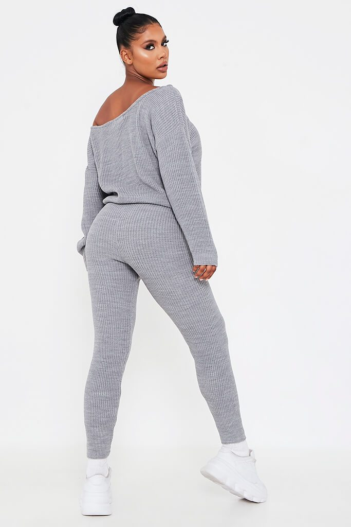 Grey Knitted Slash Neck Jumper And Jogger Set view 5